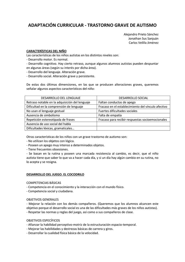 Caracteristicas de un nino autista