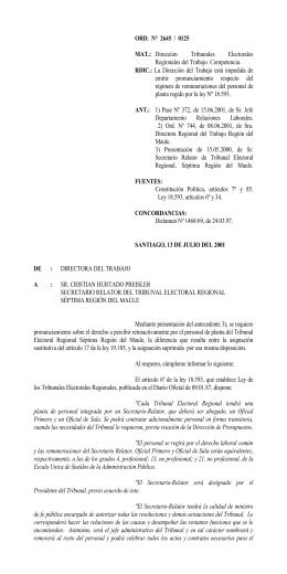 ORD. N° 2645/125 - Dirección del Trabajo