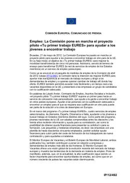 Empleo: La Comisión pone en marcha el proyecto