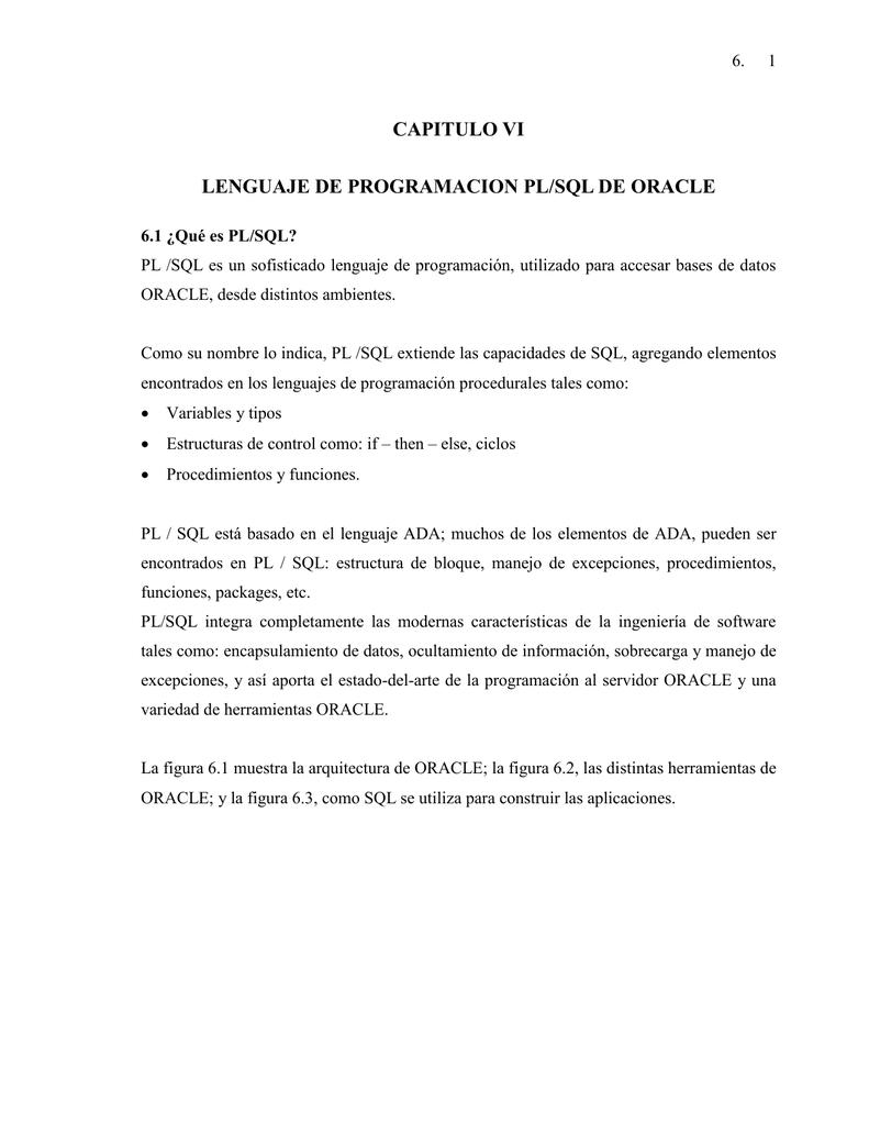 CAPITULO VI LENGUAJE DE PROGRAMACION PL/SQL DE ORACLE