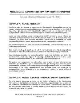 PÓLIZA MULTIRRIESGOS PARA CRÉDITOS HIPOTECARIOS