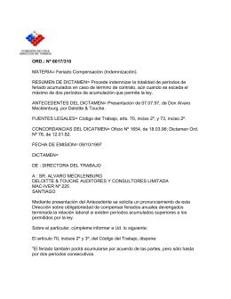 ORD. Nº 6017/310 - Dirección del Trabajo