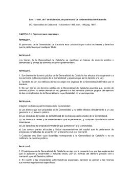 Ley 11/1981, de 7 de diciembre, de patrimonio de la Generalidad de