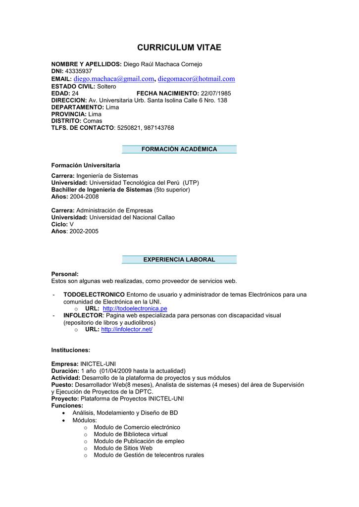 CURRICULUM VITAE - Plataforma de Proyectos Inictel-Uni