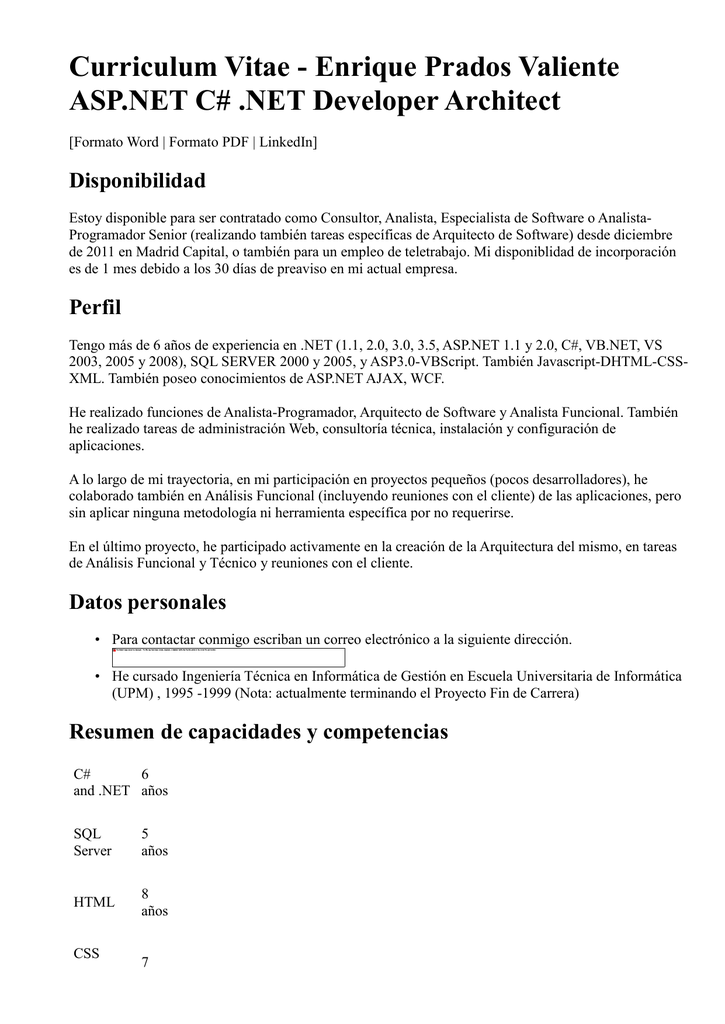 Curriculum Vitae - Enrique Prados Valiente ASP.NET C# .NET Developer ...