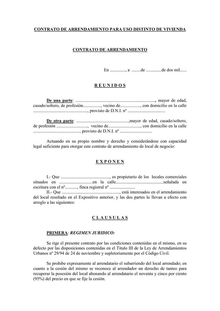 Contrato de arrendamiento para uso distinto de vivienda - Contrato de alquiler de garaje ...