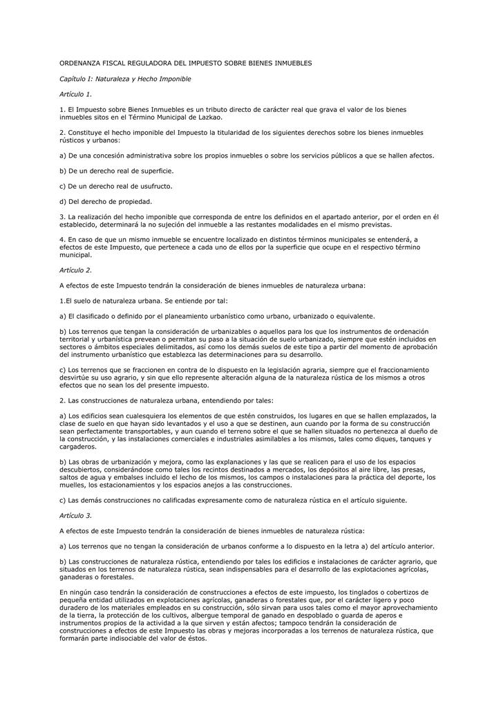 1 1 impuesto sobre bienes inmuebles for Impuesto de bienes muebles