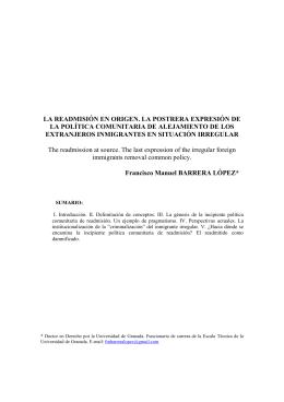 La readmisión en origen - Revista Electrónica de la Facultad de