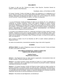 Reglamento Interior del Consejo Consultivo Turístico del Estado de