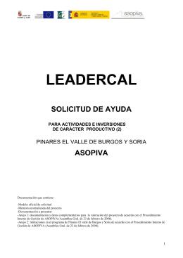 memoria valorada del proyecto - Qué es Leadercal?