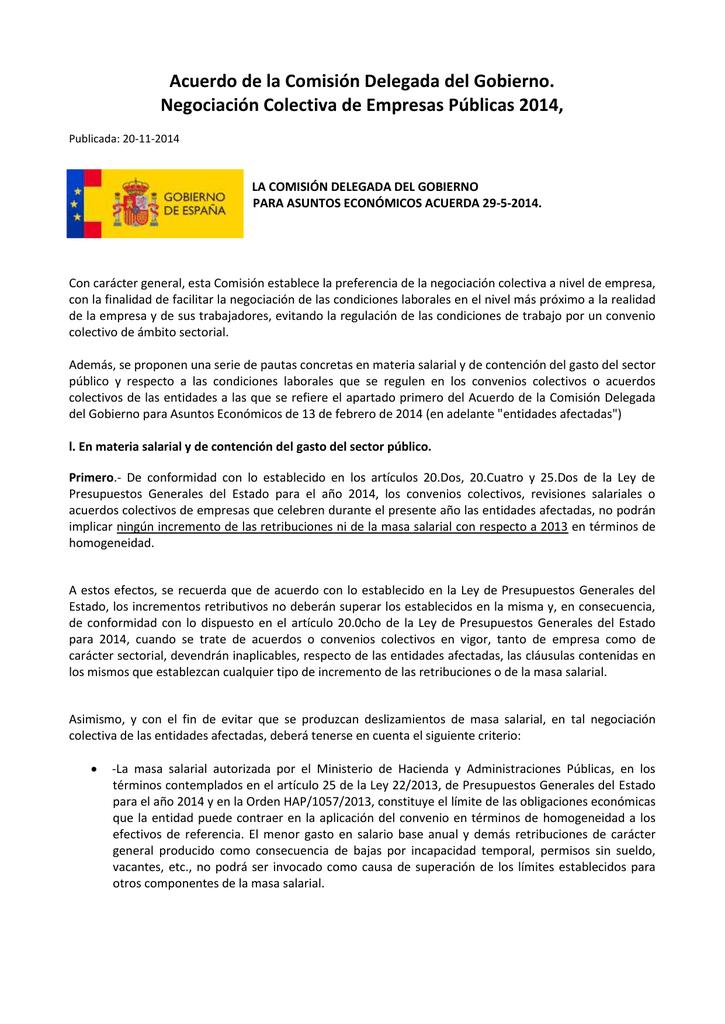 Acuerdo de la Comisión Delegada del Gobierno para Asuntos