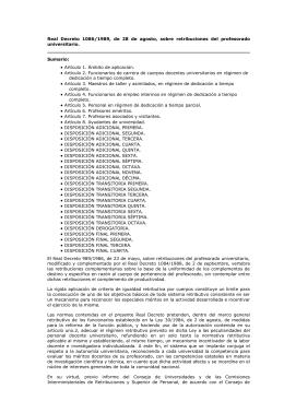 RD 1086/1989, sobre Retribuciones Profesorado Universitario