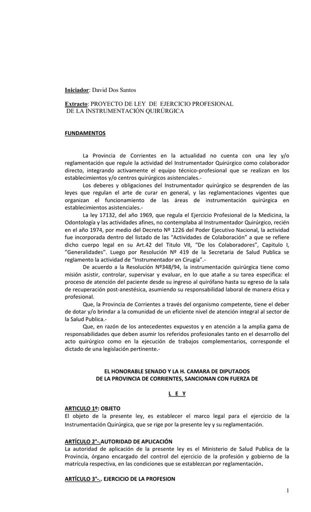 PROYECTO: LEY DE EJERCICIO PROFESIONAL