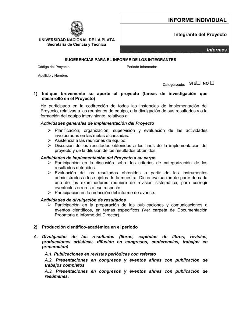 Modelo Informe Del Integrante Incluido El Director