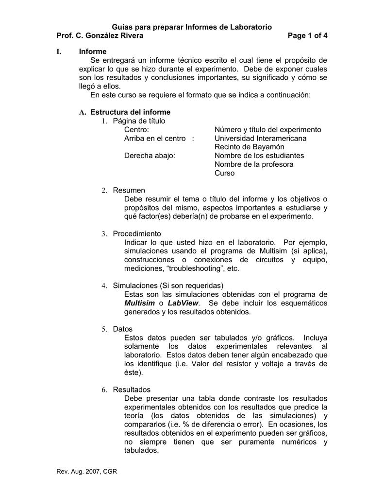 Guías para preparar Informes de Laboratorio