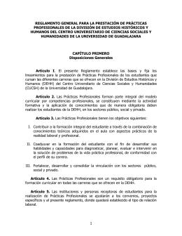 REGLAMENTO GENERAL PARA LA PRESTACIÓN DE PRACTICAS