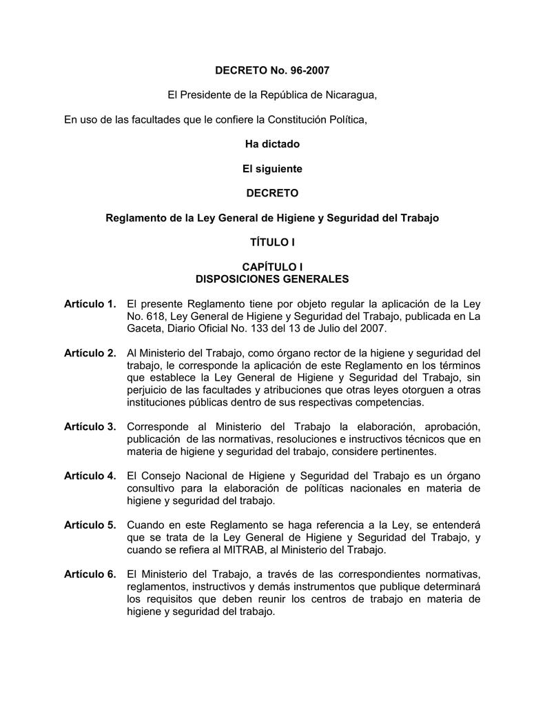 Reglamento - Ley General de Higiene y Seguridad del Trabajo