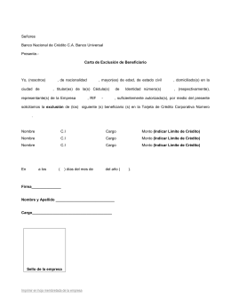 Carta de Exclusión de Beneficiario