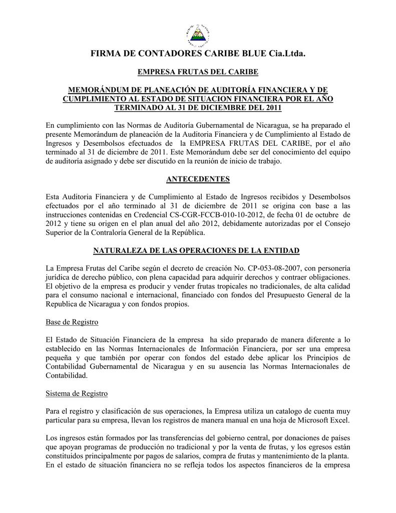 Ejemplo memorandum planeacion auditoria