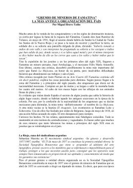 EL GREMIO DE MINEROS DEL FAMATINA