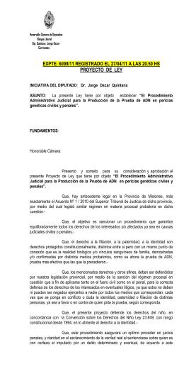 EXPTE. 6099/11 REGISTRADO EL 27/04/11 A LAS 20.50 HS
