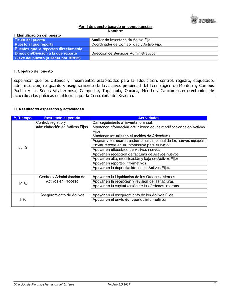 Perfil de puesto de Auxiliar de Inventario de Activo