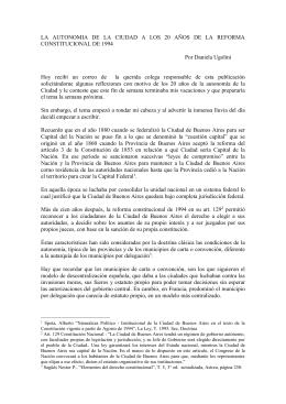 LA  AUTONOMIA  DE  LA  CIUDAD ... CONSTITUCIONAL DE 1994  Por Daniela Ugolini