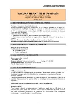 VACUNA HEPATITIS B (Fendrix®) Comisión de Farmacia y Terapéutica