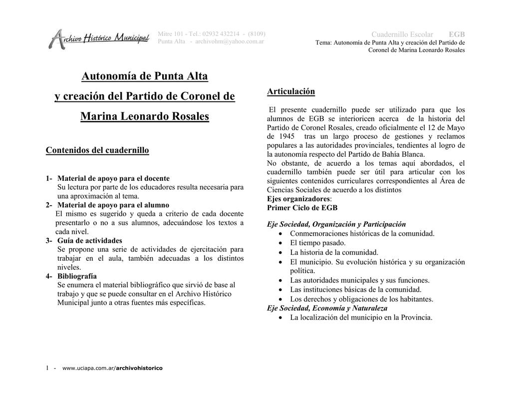 Autonomía de Punta Alta - Archivo Histórico Municipal