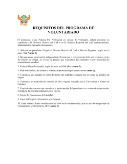 REQUISITOS DEL PROGRAMA DE VOLUNTARIADO El postulante
