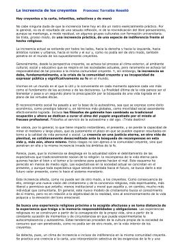 La increencia de los creyentes Francesc Torralba Reselló