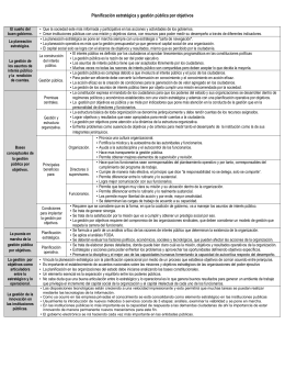 Planificación estratégica y gestión pública por objetivos