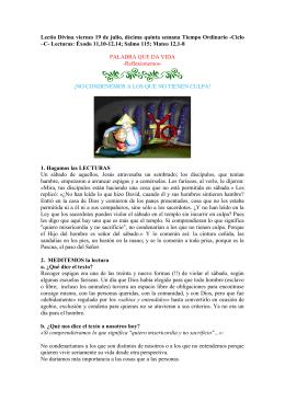 Lectio Divina viernes 19 de julio de 2013