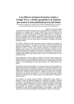 Los editores europeos de prensa supeditan posibles alianzas con