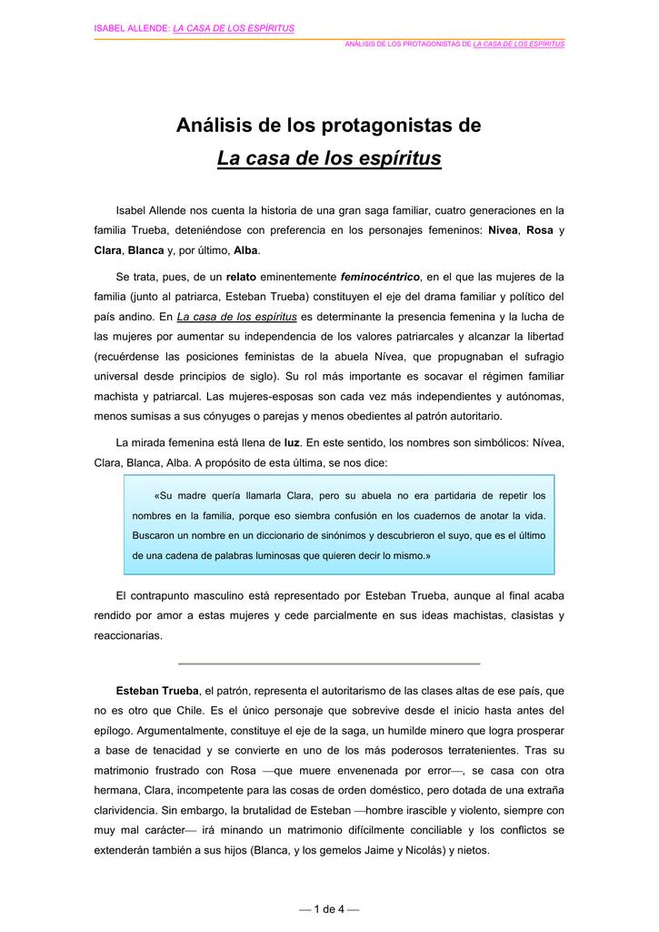Analisis De Los Protagonistas De La Casa De Los Espiritus