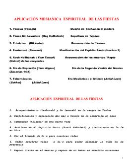 APLICACIÓN MESIANICA Y ESPIRITUAL DE LAS FIESTAS