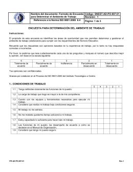 Nombre del documento: Formato de Encuesta Código: SNEST-AD-PO-007-01