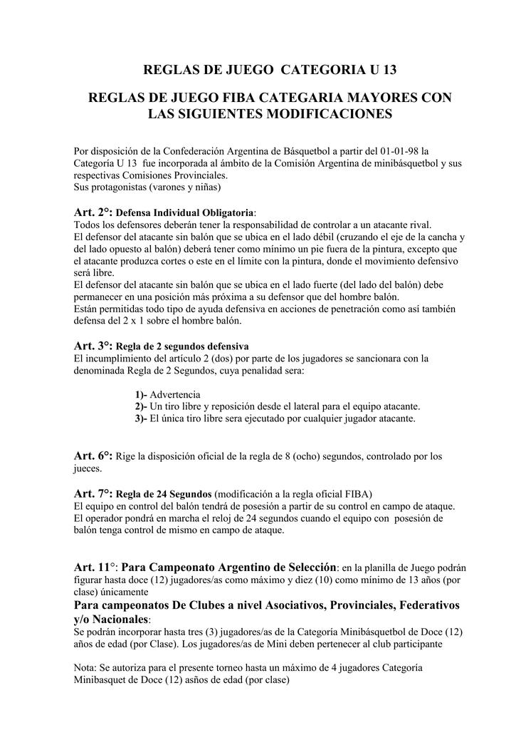 Reglas De Juego Categoria U 13 Asociacion Platense De Basquetbol