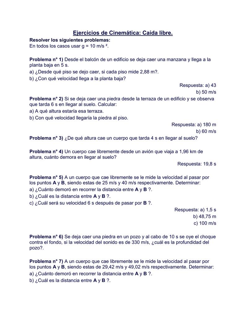 Ejercicios De Cinemática Caída Libre Resolver Los Siguientes