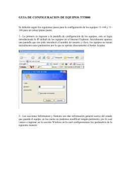 GUIA DE CONFIGURACION DE EQUIPOS TT5800