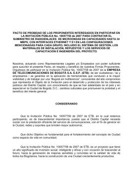 PACTO DE PROBIDAD DE LOS PROPONENTES