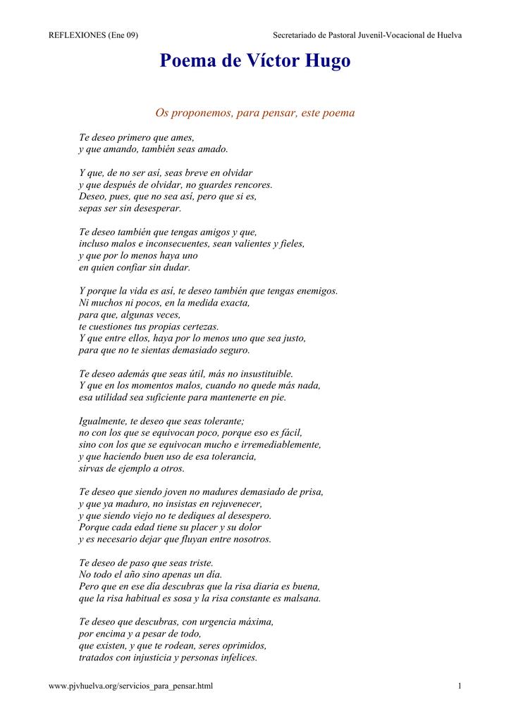 Os Proponemos Para Pensar Este Poema De Víctor Hugo