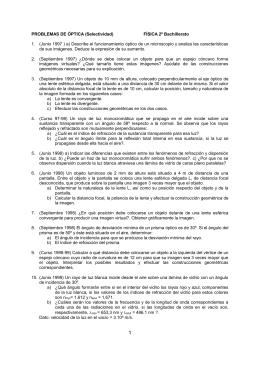 PROBLEMAS DE ÓPTICA (Selectividad) FÍSICA 2º Bachillerato