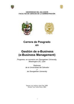 Gestión de e-Business (e-Business Management) Carrera de Posgrado en