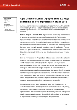 Press Release  Agfa Graphics Lanza :Apogee Suite 8.0 Flujo