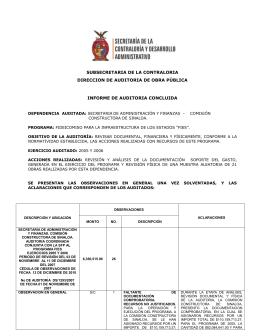 SUBSECRETARIA DE LA CONTRALORIA DIRECCION DE AUDITORIA DE OBRA PÚBLICA