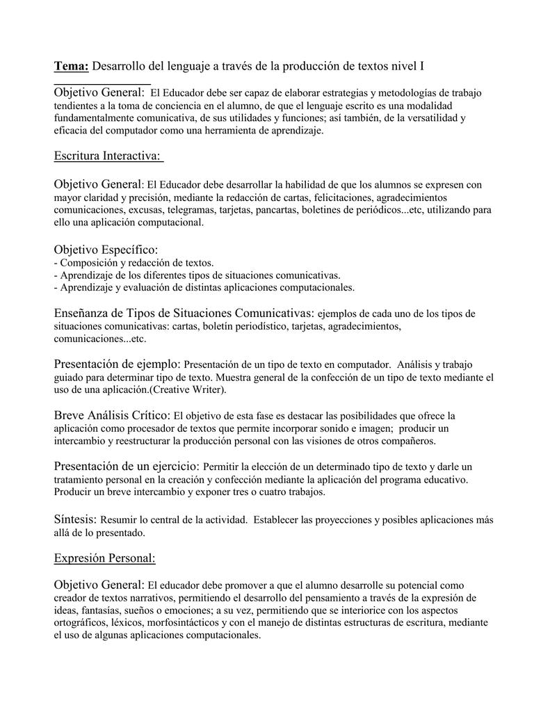 Tema: Desarrollo del lenguaje a través de la producción de textos