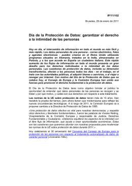 Día de la Protección de Datos: garantizar el derecho IP/11/102