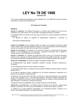 LEY 78 DE 1986 - Registraduría Nacional del Estado Civil