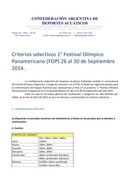 Criterios Selectivo primer Festival Olimpico Panamericano 2014